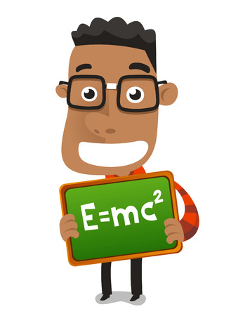 Happy nerd geek child boy holding proudly maths formula vector illustration. Vector