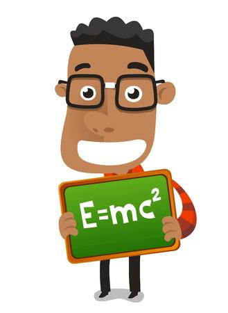 Happy nerd geek child boy holding proudly maths formula vector illustration. Illustration
