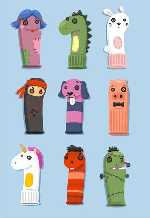 calcetines: Títeres hechos de calcetines Set con nueve marionetas lindas diferentes en diferentes formas y colores ilustración vectorial de dibujos animados