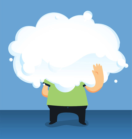 nebulosity: Cloud headed Man holding a big cloud vector illustration, with man holding a big cloud only body visible vector illustration.