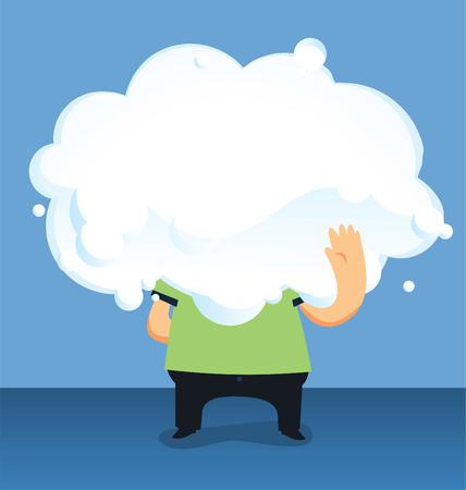 headed: Nube capo uomo in possesso di una grande nuvola illustrazione vettoriale, con l'uomo in possesso di un grande nuvola solo corpo visibile illustrazione vettoriale.
