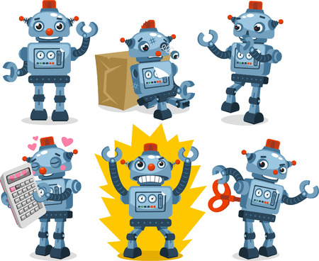 robot arm: Robot Set, with six different robots in different shapes and sizes and situations vector illustration.