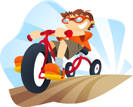 tricycle: Boy on a tricycle going pretty fast. Illustration
