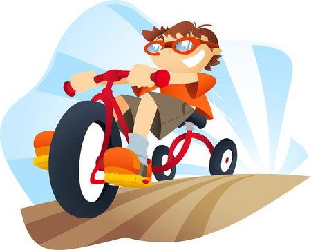 driewieler: Jongen op een driewieler gaat behoorlijk snel. Stock Illustratie