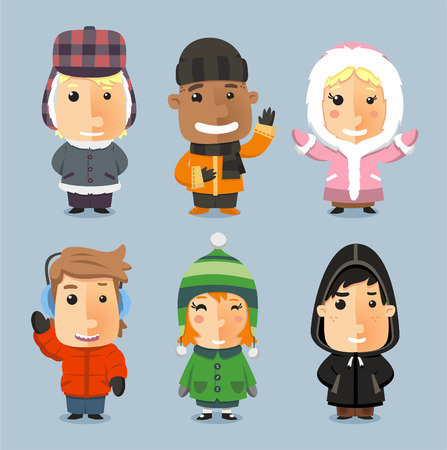 Kids wrapped up with Winter Cloth Sheltered, with mad bomber, beanie hat, boot, pants, knit hat, Illustration