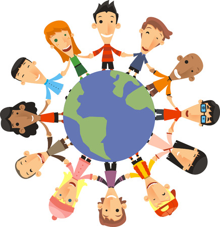 mixed race children: World Children Happiness vector illustration.
