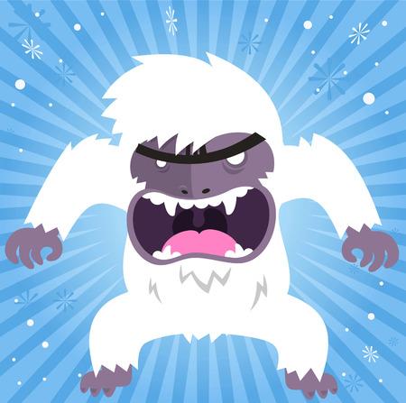 Angry shouting yeti vector illustration