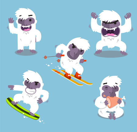 skying: Yeti Cold Winter Set vector illustration