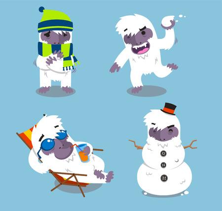 yeti: Yeti Cold Winter Set vector illustration