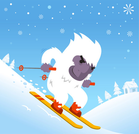 yeti: Skiing Yeti with snowflakes and mountain vector illustration Illustration
