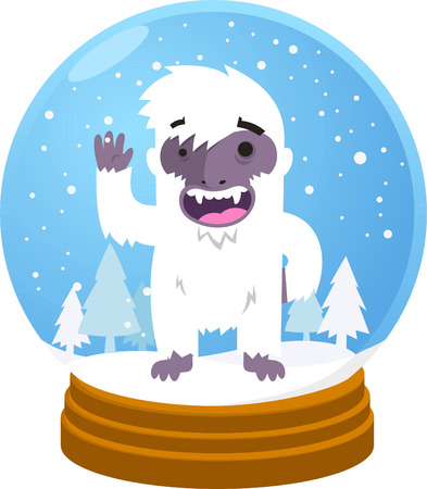 yeti: Yeti in Schneekugel Vektor-Illustration