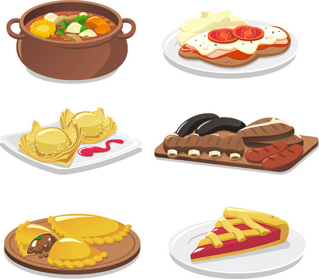 plate of food: Argentinian dishes icon set illustrations