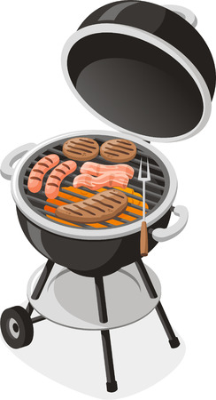 open flame: Whole Charcoal Barbecue Grill Vector Illustration. Illustration