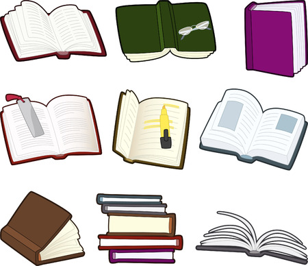 hard cover: Book and agenda icon set vector icons illustration. Illustration