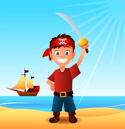 Pirate boy landing with sword cartoon illustration.