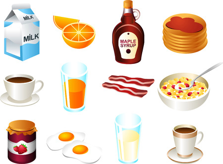 Gezond ontbijt eten icon set Stockfoto - 33787009