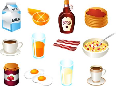 food icon set: Healthy breakfast food icon set Illustration