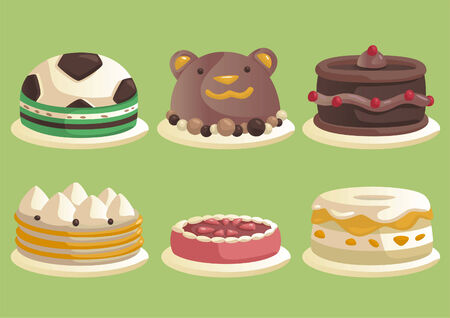 Cake set 2, children birthday cake. Vector