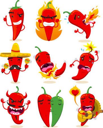 Negen verschillende chilis in verschillende situaties, zoals het maken van OK teken, of gek, spugen vuur, met Mexicaanse hoed, tot exploderen, duivel chili, chilis in de liefde of mariachi chili vector illustraties.