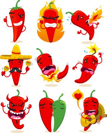 Neuf chilis différents dans des situations différentes comme faisant signe OK, ou fou, crachant le feu, avec un chapeau mexicain, jusqu'à exploser, diable chili, piments dans l'amour ou mariachi illustrations vectorielles de chili. Vecteurs