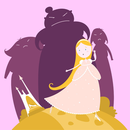 Cinderella running away from the prince, leaving her crystal shoe behind. Vector