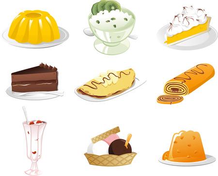 Tasty Desserts icon set Illustration