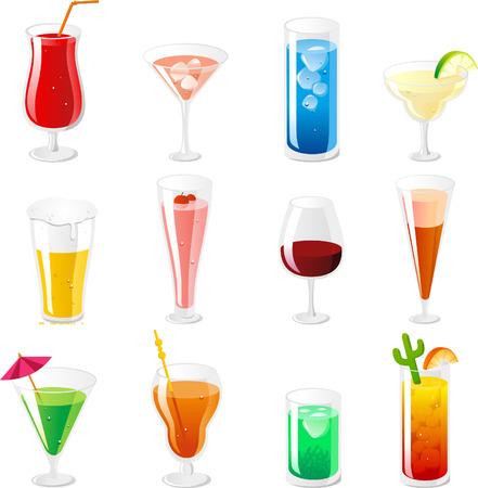 Cocktail and Drink icon Collection vector cartoon.