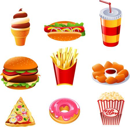 voedingsmiddelen: Fast food vector icon collectie
