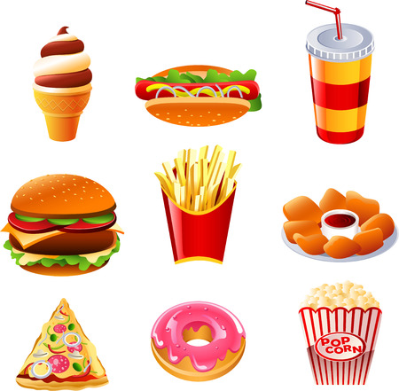 eating fast food: Fast food vector icon collection