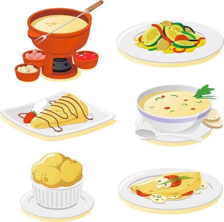 French dishes cartoon illustrations Ilustrace