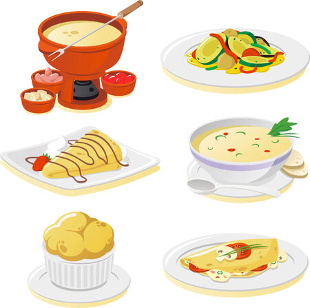 French dishes cartoon illustrations Vectores