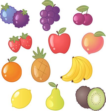 nectarine: Fruit icon vector cartoon collection Illustration