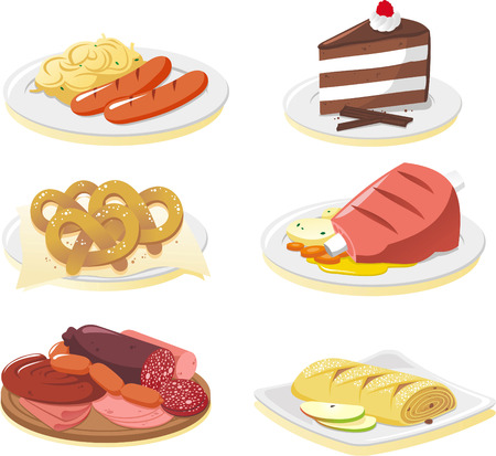 veal sausage: German cuisine dishes cartoon illustration set Illustration