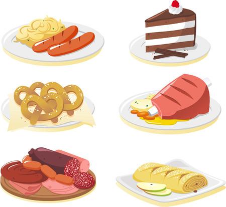 veal sausage: German cuisine dishes cartoon illustration set Illustration