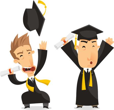 birrete de graduacion: Graduados Licenciatura Grado Acad�mico, ilustraci�n vectorial de dibujos animados.