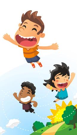 jump up: vector illustration of little Kids flying around.