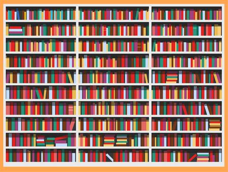 newspaper stack: Bookcase full of books vector illustration cartoon. Illustration