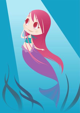 Kleine zeemeermin afvraagt wat op het oppervlak. Stock Illustratie