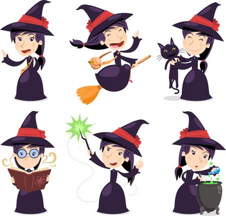 pocima: Bruja establece con la bruja que lleva un vestido negro con un sombrero de bruja, volando en escoba, con la bruja del gato negro, con el libro de brujas, con la varita mágica y con la olla mágica. Ilustración vectorial de dibujos animados.