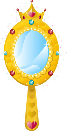 hand mirror: Crown princes magical golden mirror with shining hearts and diamonds vector illustration.