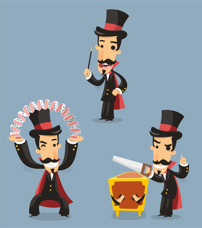 conjuring: Magician Magic Trick Performance, with top hat, cape, cards, saw, trick. Vector illustration cartoon.