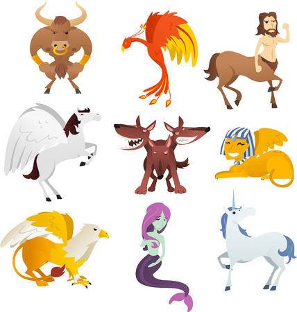 mythical phoenix bird: Mythological Creatures and animals, with unicorn, Phoenix, sphinx, centaur, pegasus, bird, cerberus, griffin, pharaoh and Eagle vector illustration. Illustration