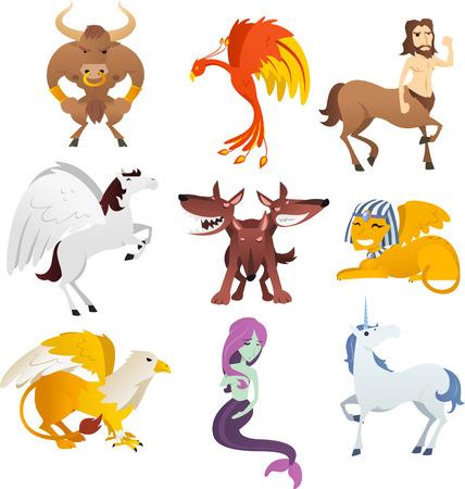 Mythologische wezens en dieren, met eenhoorn, Phoenix, sfinx, centaur, pegasus, vogel, cerberus, griffioen, farao en Eagle vector illustratie.
