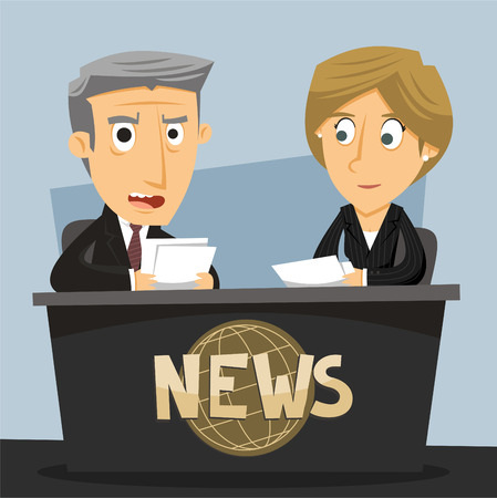 press news: News Anchor Journalist Anchorwoman and Anchorman TV News Broadcast, vector illustration cartoon.