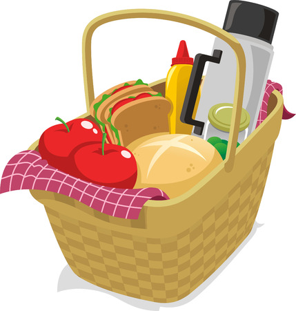Picnic basket filled with food cartoon illustration Ilustração