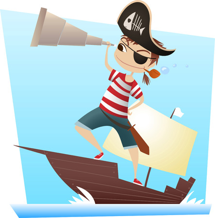 warship: Pirate kid with binoculars looking at the horizon vector illustration.