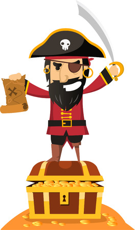 Pirate Captain Standing on Coin Coffin with Eye Patch and Sword vector illustration. Illustration