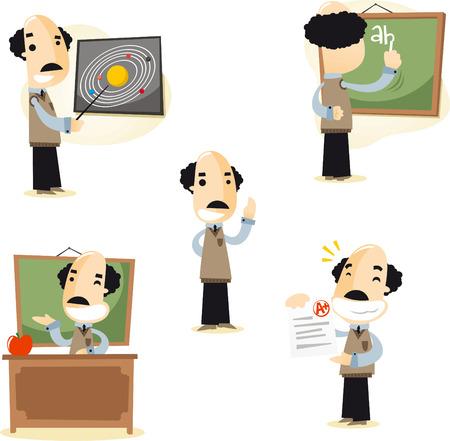 Primary and Secondary School Teacher Tutor set 1, vector illustration cartoon. 矢量图像