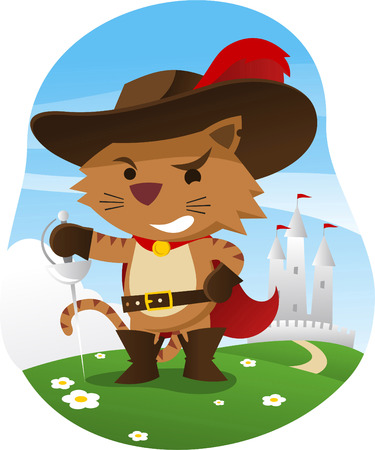 period costume: Puss in boots with wise funny face and sword, with castle behind him, hat with feather, cape, sword, and belt vector illustration.