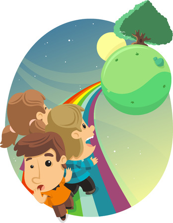 front or back yard: Kids in a Rainbow Path, with trees and sun. Vector illustration cartoon.